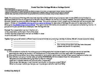 Heritage Minute History Assignment and Rubric