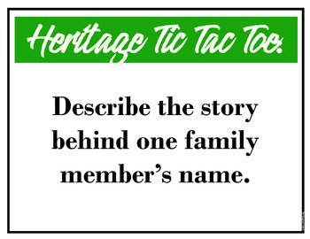 Heritage Tic-Tac-Toe Game & Follow up Discussion [English & History]