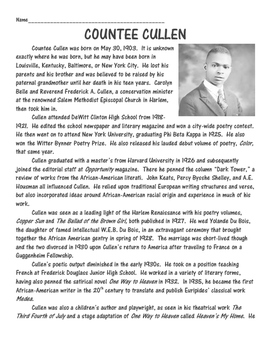 Heritage by Countee Cullen Analysis Worksheet Harlem Renaissance