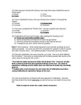 Herman Hesse's Siddhartha Exam Form A and KEY