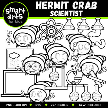 Hermit Crab Scientist Clip Art