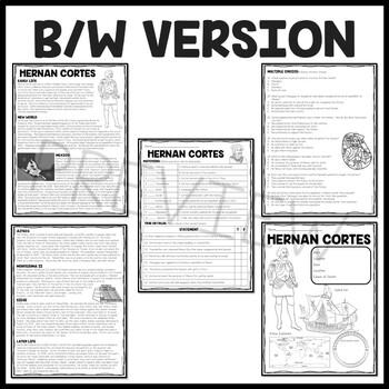Hernan Cortes Biography Reading Comprehension Worksheet, Exploration, Aztecs