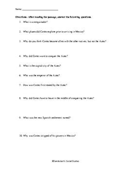Hernan Cortes Reading Comprehension Worksheet - No Prep