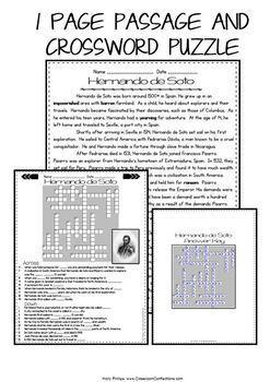 Hernando de Soto Reading Passage: Explorers: Comprehension Crossword Puzzle
