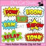 Superhero Clip Art Action Words Set
