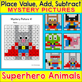 Superhero Hundreds Chart Mystery Pictures - Color by Number Math Morning Work