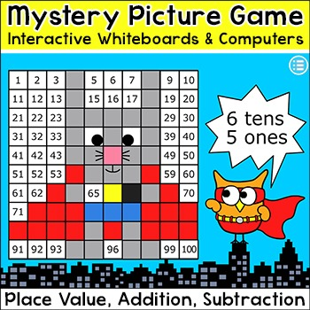 Superhero Animals Hundreds Chart Math Mystery Pictures SmartBoard Game