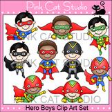 Boys Superhero Clip Art Set - Flying, Running, Standing, Taking Off