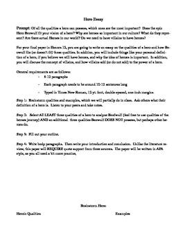 English Model Essays Hero Essay  Beowulf Unit Essays For Kids In English also Sample Essay English Hero Essay  Beowulf Unit By April Flagg  Teachers Pay Teachers English Short Essays