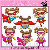 Girls Superhero Clip Art Set - Flying, Running, Standing, Taking Off