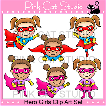 Superhero Theme Girls Clip Art