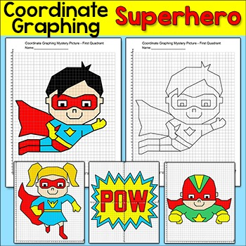 Coordinate Graphing Superhero Mystery Pictures: First Quadrant & Four Quadrants