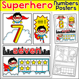 Numbers Posters & Comic Book Number Sense Worksheets - Superhero Theme