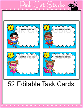 Editable Task Cards Template - Superhero Theme