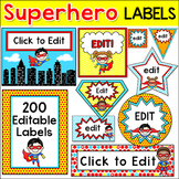 Superhero Theme Editable Labels and Templates - Back to School Decor