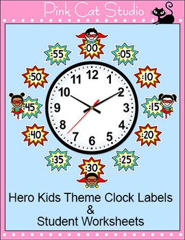Telling Time Clock Labels - Superhero Theme - Back to School Decor