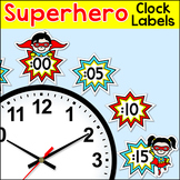 Superhero Theme Telling Time Clock Labels - Back to School Superhero Decor