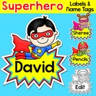 Superhero Theme Name Tags Labels - Back to School Decor