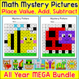 Place Value, Addition and Subtraction Mystery Pictures - End of Year Activities
