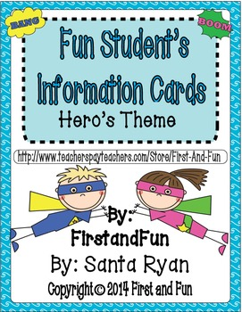 Fun Hero Student's Information Cards