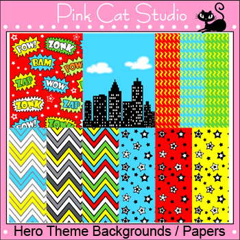 Superhero Theme Backgrounds / Papers Clip Art – Personal or Commercial Use