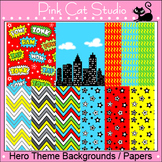 Superhero Clip Art Backgrounds / Papers – Personal or Commercial Use