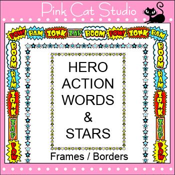 Borders - Superhero Theme Frames / Borders Clip Art – Pers
