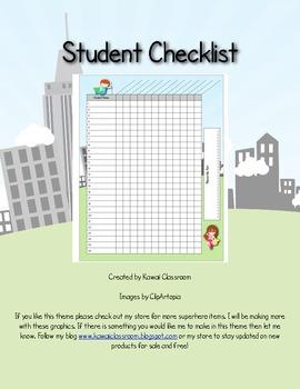 Hero Theme Student Checklist