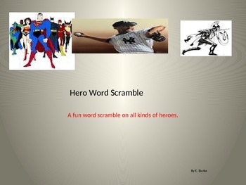 Hero Word Scramble