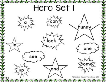 Printable Sight Word Activities-Superhero Themed