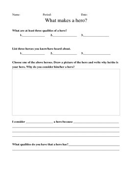 Hero packet (as a pre-reading activity for the novel Beowulf)