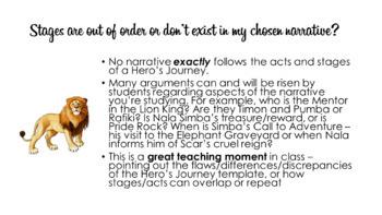 Hero's Journey Presentation, Teacher Notes & Worksheets
