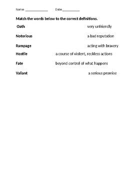 Hero's Journey Unit Vocabulary Quiz