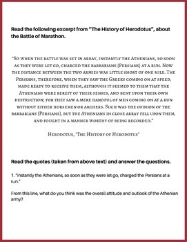 Herodotus and the Battle of Marathon: A Primary Source Activity {no prep}