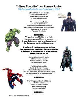 Heroe Favorito Spanish Song Lyrics & Activities - Romeo Santos - Musica Latina