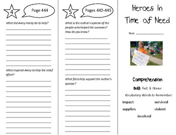 Heroes In Time of Need Trifold - Treasures 5th Grade Unit 4 Week 3