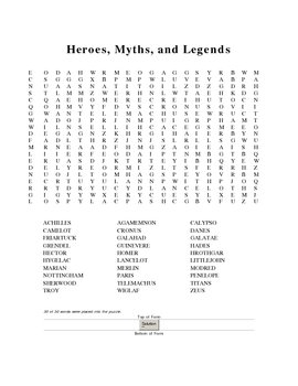 Heroes, Myths, and Legends:  Two Wordfinds