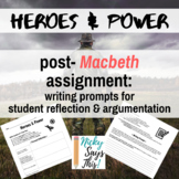 Heroes & Power: post-reading writing prompts