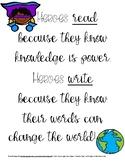 Heroes Read and Write Poster Hero School Theme Classroom Decor