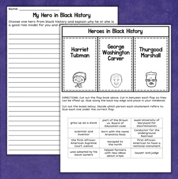 Heroes in Black History Reading Comprehension: Tubman, Carver, Marshall