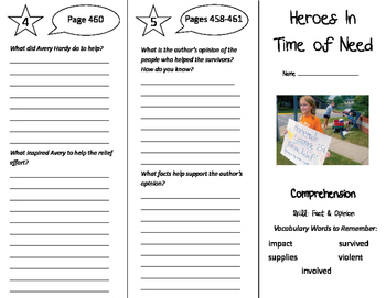 Heroes in Time of Need Trifold - California Treasures 5th Grade Unit 4 Week 3