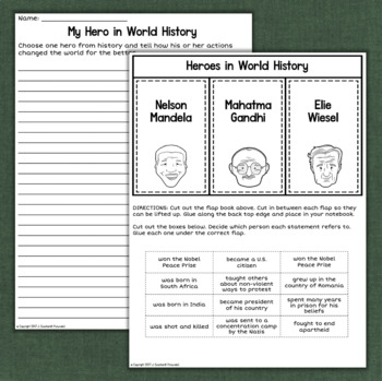 Mahatma Gandhi, Nelson Mandela, Elie Wiesel World History Reading Comprehension
