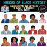 Heroes of Black History: Marker Sketch Clip Art