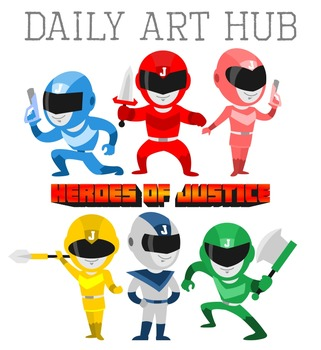 Heroes of Justice Cliparts - Great for Art Class Projects!
