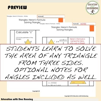 Heron's Formula Interactive Notebook for Area of non-right triangles in trig