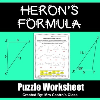 Heron\'s Formula - Puzzle Worksheet by Mrs Castro\'s Class | TpT
