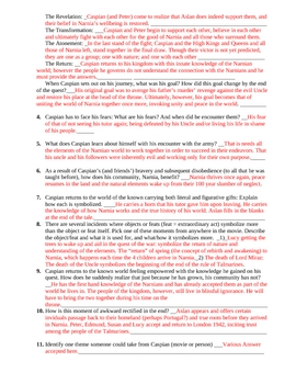 Hero's Journey using Prince Caspian movie; Worksheet and Key