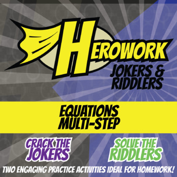 Herowork - Equations Multi-Step - Owl Mystery Pic and Thesaurus Joke