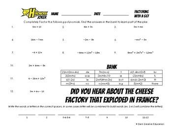 Herowork - Factoring with GCF - Malala Yousafzai Mystery Pic and Cheese Joke