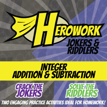 Herowork - Integers Adding and Subtracting - Rhino Mystery Pic & Conductor Joke